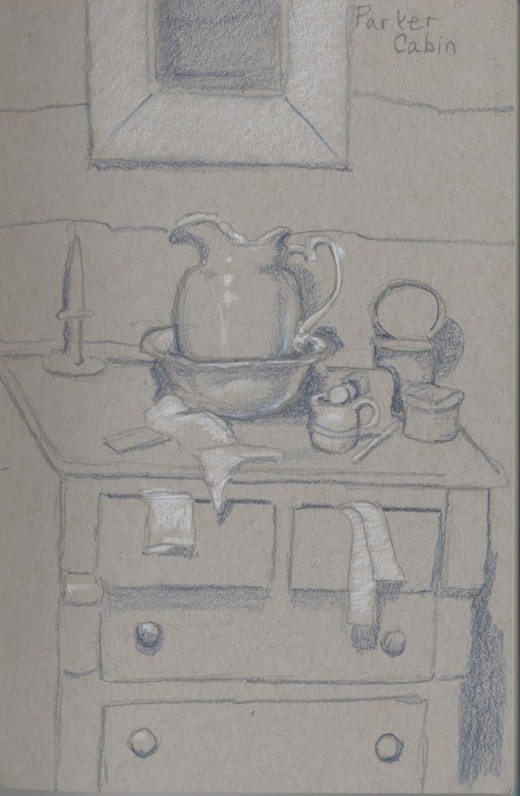 Contents of Parker Cabin, Log Cabin Village, Fort Worth Texas, Prismacolor pencil on toned paper, October 2013