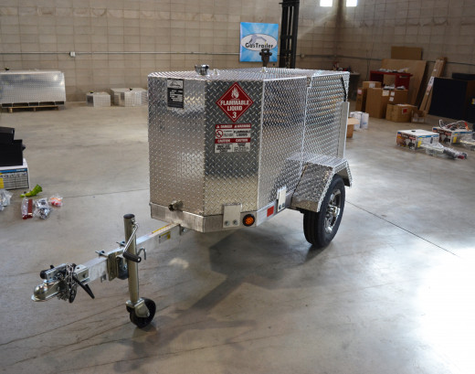 This is a Pro 110 Industrial gas trailer, featuring a 110 gallon storage capacity.