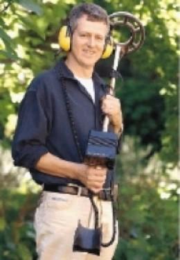 Peter Adams with his metal detector