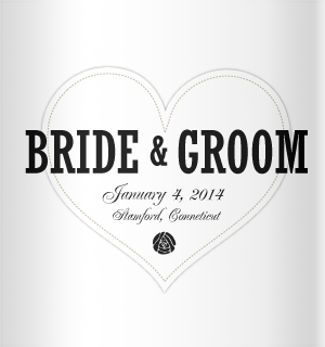 black text on white heart background for your wedding koozies.