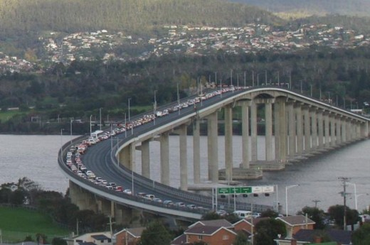 Tasman Bridge in Hobart, Tasmania,