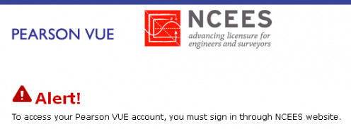 You must login to schedule an exam via your MyNCEES account, not directly via the Pearson VUE site.
