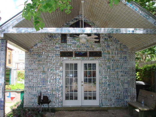 It's hard to tell, but this entire shed is built out of beer cans.--wikimedia commons