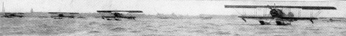 British aeroplanes, typical of those used in the Cuxhaven raid, in line on the water.