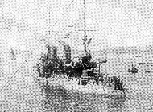 """The """" entente """" in the Dardanelles. The French battleship 'Bouvet', which, with two other ships of the Republic, assisted in the joint attack on the Dardanelles forts."""