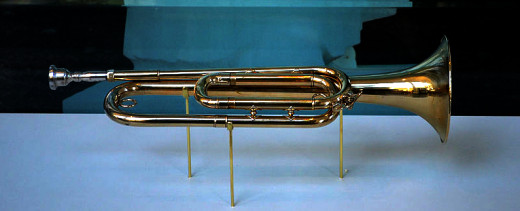 The bugle used by Sgt. Keith Clark at JFK's funeral is on display at Arlington Cemetery.