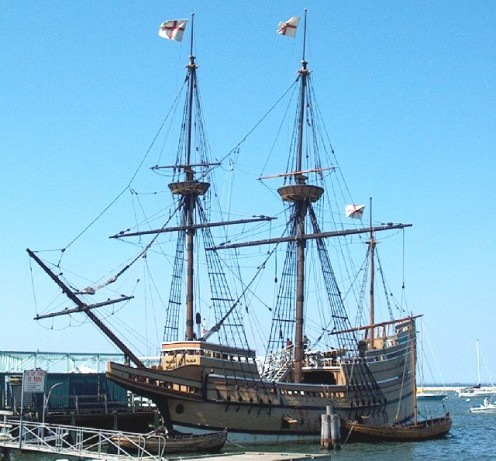 Mayflower II at the State Pier in Plymouth Center.