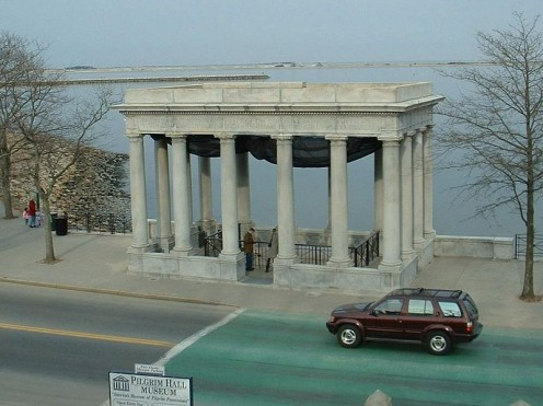 Location of Plymouth Rock on Plymouth Harbor.