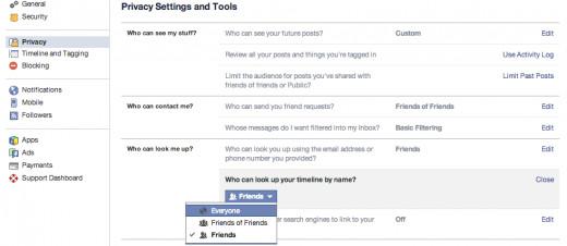 Privacy setting screen