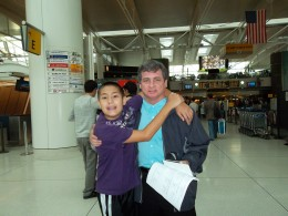 Matty and me embrace at JFK before my flight (Pre Emily)