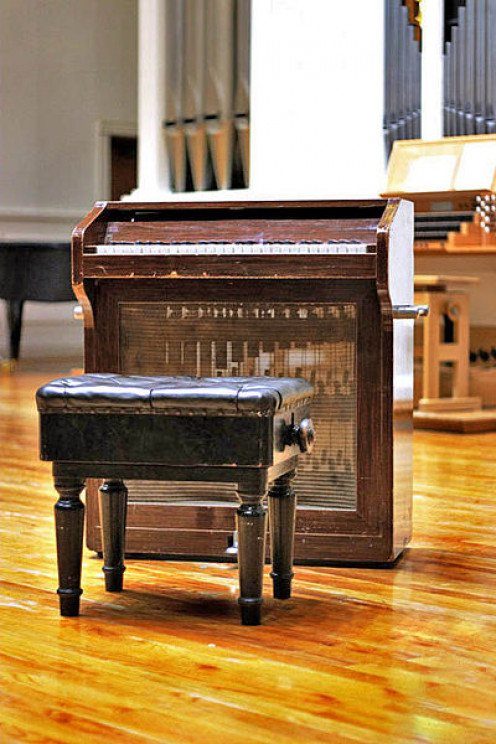 "The celesta, a new instrument. Tchaikovsky used in his music for ""The Sugar Plum Fairy."""