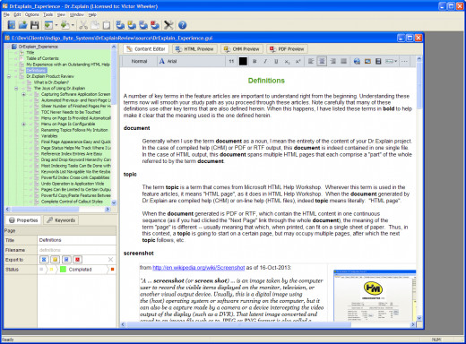 Figure 6:  Screenshot of a Page with Basic Layout