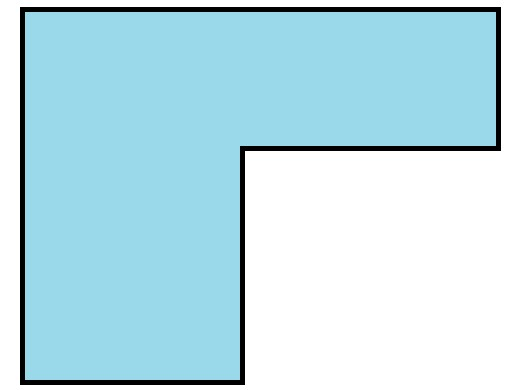 There are several equivalent methods to find the perimeter and area of an L-shape.