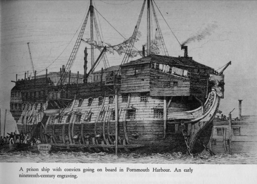 Prison hulk in Portsmouth harbour - convicts were held in these battered old former 'ships of the line' before being taken to the transport ships for the long voyage Down Under