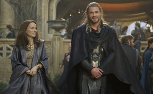 Chris Hemsworth as Thor & Natalie Portman as Jane Foster in Thor: The Dark World