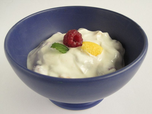 Yoghurt served with fresh berries
