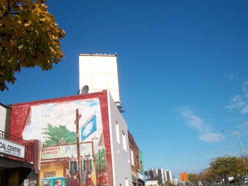 Mural, recalling Spooner's Garage, 2348 Kingston Road, Scarborough, Ontario