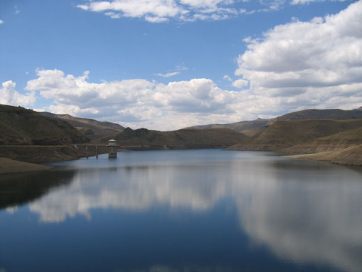 Reservior and intake tower behind the Katse Dam, Lesotho
