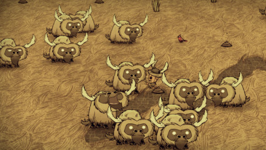 The Robot Character, WX-78,  in a herd of Beefalo