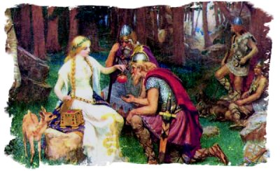 Idun gives the ailing gods their enchanted apples