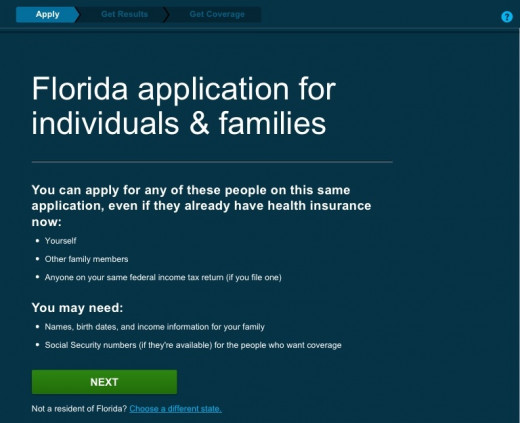 Before beginning your application, this page will advise you that you should have documentation like your Social Security Number, or (if applicable) immigrant documentation available.