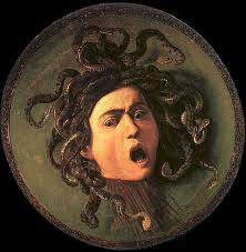 Medusa, the Greek monster who could freeze people to stone by looking to their eyes.