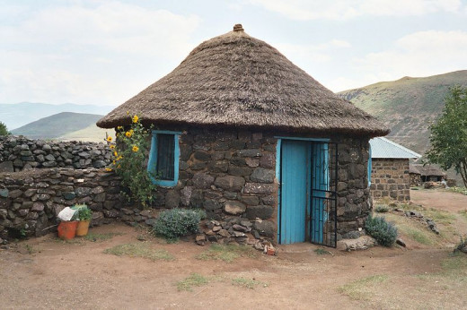 A Basotho hut is also called a 'rondawel' @ http://en.wikipedia.org/wiki/Rondavel