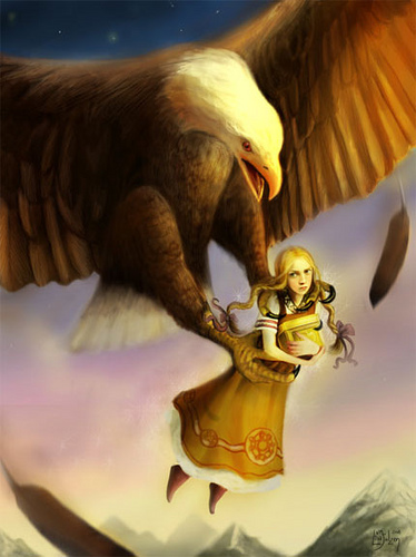 Thjazi as the eagle swoops to take Idun with her apples to his mountain fastness of Thrymhjem