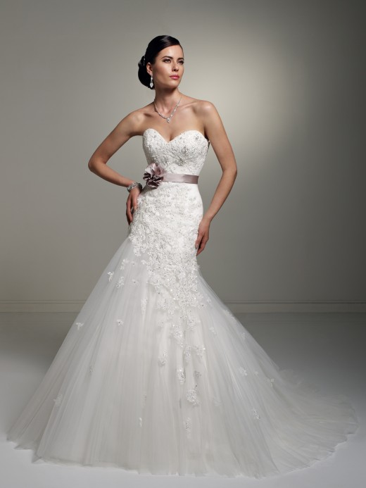 Mermaid, sweetheart strapless neckline, all lace and tulle gown with sash. Style No. Y21246