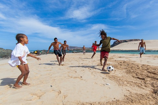 A game of beach soccer.