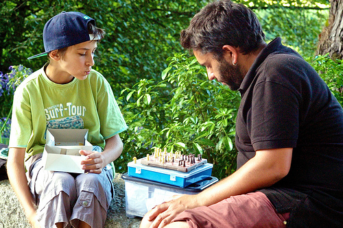 A game of chess in the park.