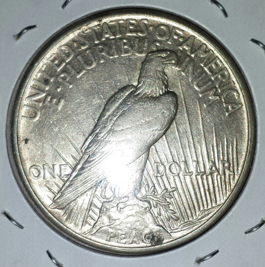 My 1921 Peace Dollar (reverse)