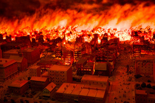 Image from a diorama at the Chicago Fire Museum.