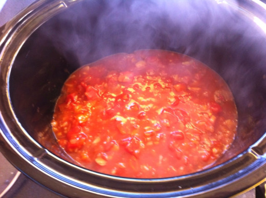Pour the sauce over the meatballs in the slow cooker