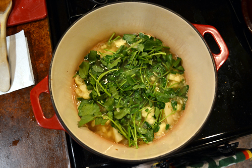 With the watercress added, it only takes a few minutes for it to wilt and be ready for the blender.