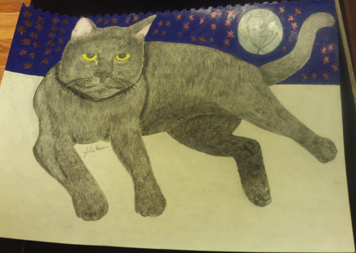 I colored in the stars and the violet-blue sky behind Irina the cat.