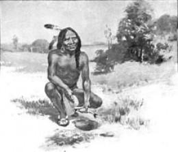 Squanto teaching the Pilgrims to plant maize