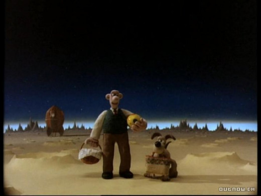 Wallace and Gromit visit the moon for a cheese and cracker picnic in The Grand day Out, an animated film.
