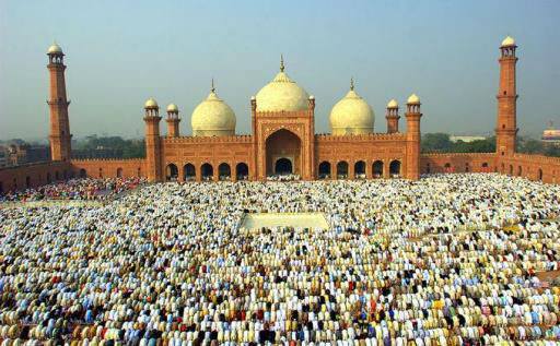 Muslims get together in front of Mosque to offer prayers as part of the celebration of Eid-ul-Adha