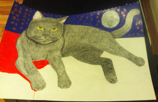 I used a red colored pencil to shade in the counter the cat was perched on.