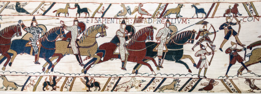 Scene 51 of the Bayeux Tapestry, chronicling the Battle of Hastings.