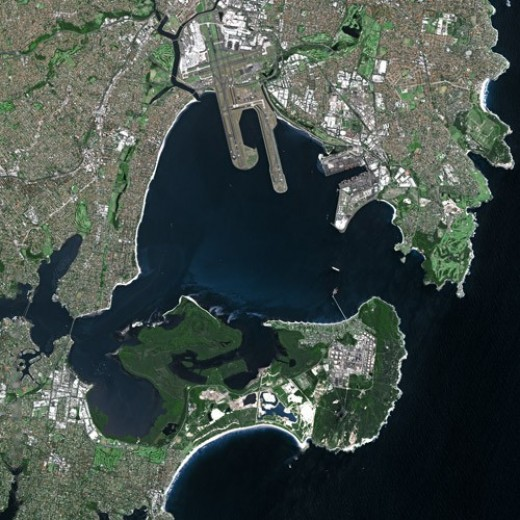 Current aerial photo of Botany Bay NSW.