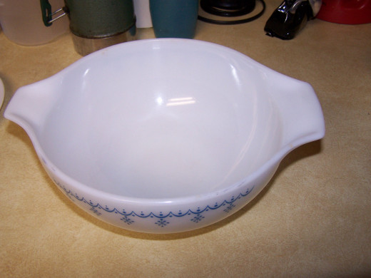 Here I show a photo of the medium bowl that I use to mix the cake ingredients in.