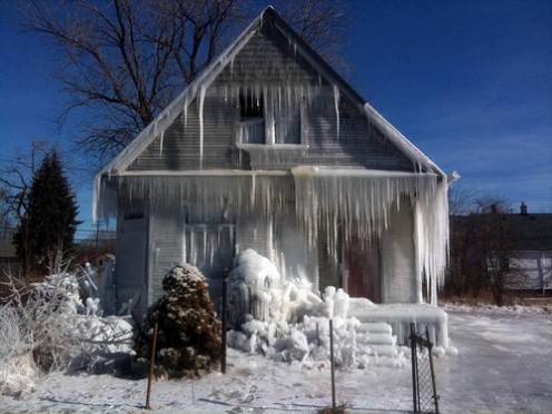 This house on Detroit's East Side is covered in ice by two artists every winter as an arts attraction. A related film has been completed with help from Kickstarter crowdfunding.