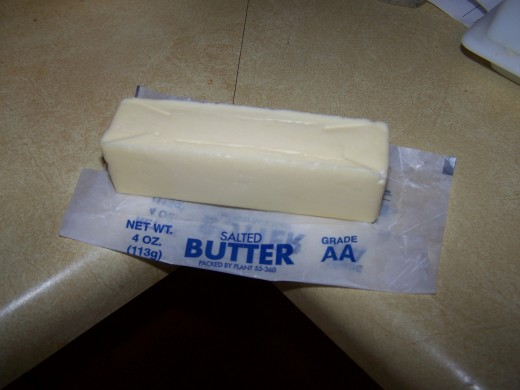 Here is another stick of butter that I have place on the counter in the beginning.