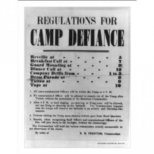 Poster of the schedule of daily activities at Camp Defiance
