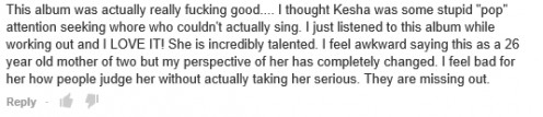 This comment from an illegal version of Ke$ha's Warrior album on YouTube shows how freely available material benefits her