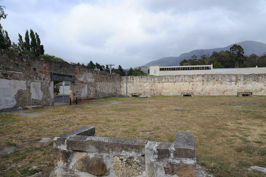 Cascades Female Factory, Hobart - from inside the sandstone wall remains of one of the yards.
