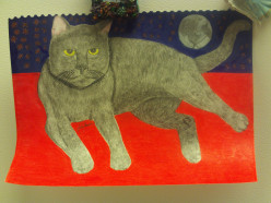 Drawing of A Cat With The Moon And The Stars As A Backdrop.