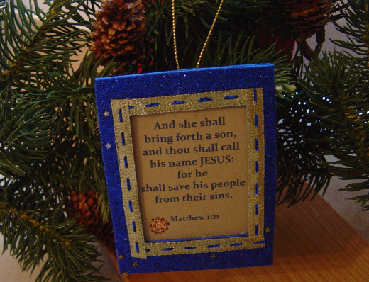 Christ-Centered Ornament With Scriptural Texts.